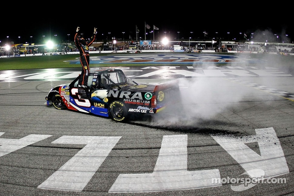 Race winner Ty Dillon celebrates