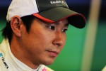Kamui Kobayashi, Sauber in the post qualifying FIA Press Conference