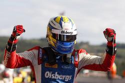 Winner Marcus Ericsson celebrates