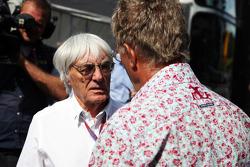 Bernie Ecclestone, CEO Formula One Group, with Eddie Jordan, BBC Television Pundit