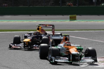 Nico Hulkenberg, Sahara Force India Formula One Team leads Mark Webber, Red Bull Racing