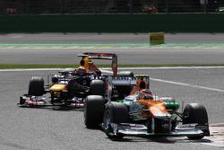 Nico Hulkenberg, Sahara Force India Formula One Team leads Mark Webber, Red Bull Racing