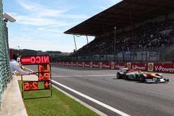 A pit board for fourth placed Nico Hulkenberg, Sahara Force India F1