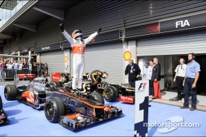 Spa race winner Jenson Button, McLaren celebrates in parc ferme