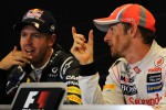 Post race FIA Press Conference, Red Bull Racing, second; Jenson Button, McLaren, race winner