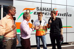 Paul di Resta, Sahara Force India F1 with, Red Bull Racing and Scuderia Toro Advisor / BBC Television Commentator; Eddie Jordan, BBC Television Pundit and Jake Humphrey, BBC Television Presenter