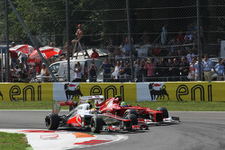 Lewis Hamilton, McLaren leads Felipe Massa, Ferrari at the start of the race
