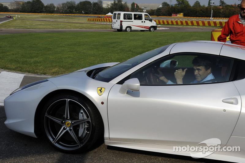 Texas Gov. Rick Perry drives a Ferrari 458