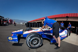 Car of Helio Castroneves, Team Penske Chevrolet at technical inspection