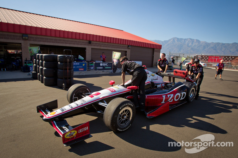 Car of Ryan Briscoe, Team Penske Chevrolet at technical inspection