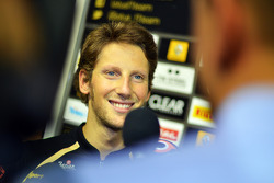 Romain Grosjean, Lotus F1 Team with the media
