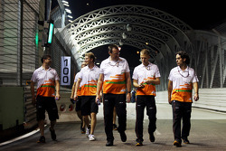 Nico Hulkenberg, Sahara Force India F1 walks the circuit with the team