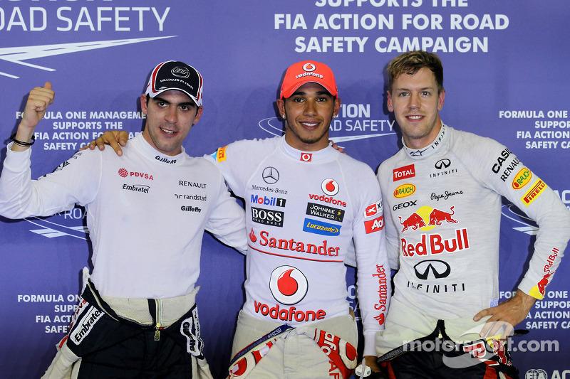 Pole winner Lewis Hamilton, McLaren, second place Pastor Maldonado, Williams, third place Sebastian Vettel, Red Bull Racing