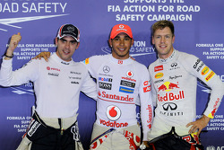 Pole winner Lewis Hamilton, McLaren, second place Pastor Maldonado, Williams, third place Sebastian Vettel, Red Bull Racing