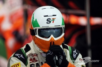 Sahara Force India F1 Team mechanic watches the race