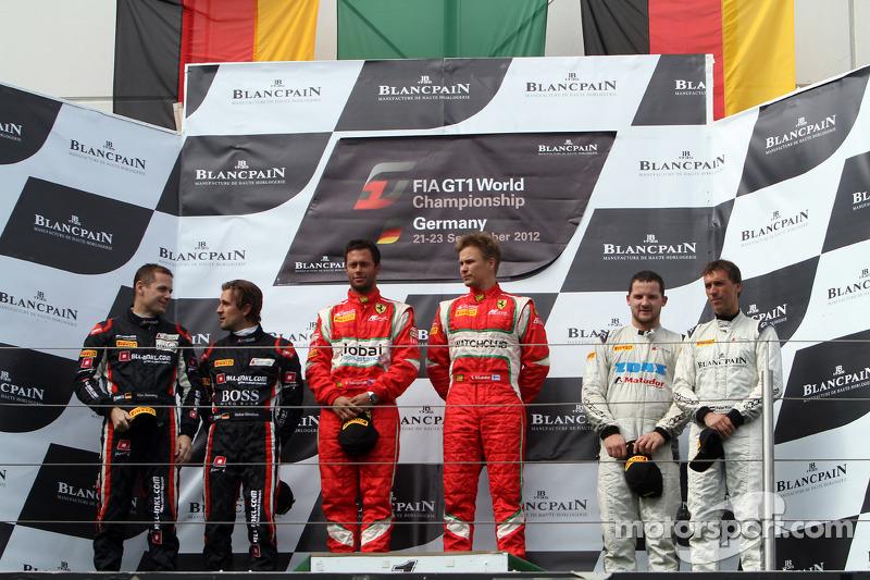Podium: winners Filip Salaquarda, Toni Vilander, second place Marc Basseng, Markus Winkelhock, third place Peter Kox, Stefano Rosina