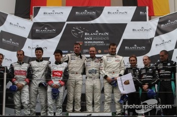 Podium: race winners Marc Goossens, Xavier Maassen, Marc Hennerici, second place Congfu Cheng, Jeroen Bleekemolen, Mike Parisy, third place Greg Franchi, Frank Kechele, Mathias Lauda