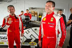 Race winner #31 Ferrari of Ontario 458CS: Damon Ockey celebrates with #56 Ferrari of Ft Lauderdale 458CS: Jose Valera