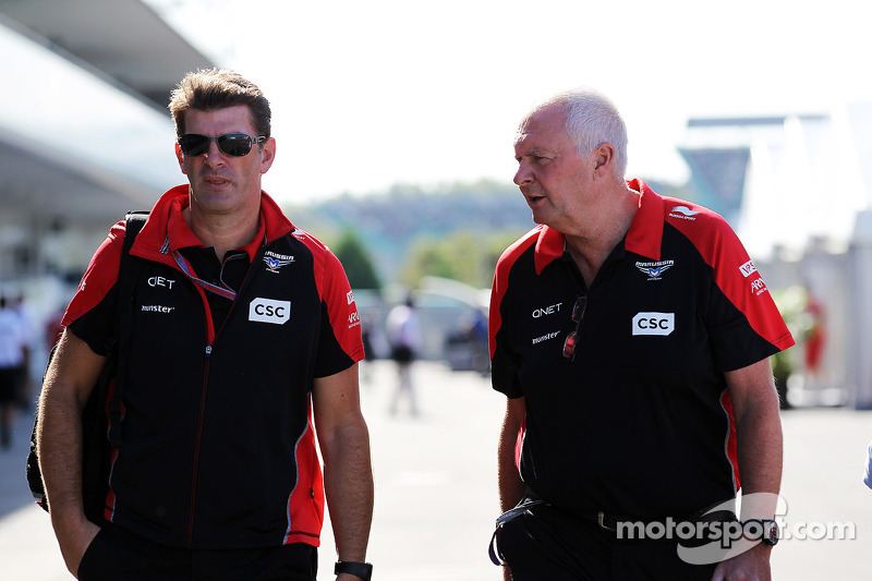 Graeme Lowdon, Marussia F1 Team Chief Executive Officer with John Booth, Marussia F1 Team Team Principal