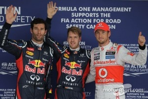 Sebastian Vettel, Red Bull Racing; Mark Webber, Red Bull Racing; Jenson Button, McLaren