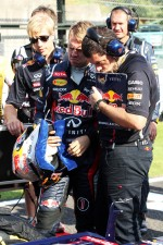 Sebastian Vettel, Red Bull Racing with Guillaume Rocquelin , Red Bull Racing Race Engineer on the grid