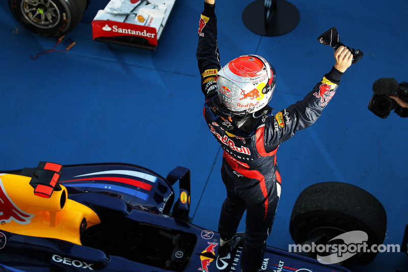 Race winner Sebastian Vettel, Red Bull Racing celebrates in parc ferme