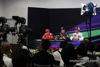 The FIA Press Conference, Felipe Massa, Ferrari, second; Sebastian Vettel, Red Bull Racing, race winner, Kamui Kobayashi, Sauber, third