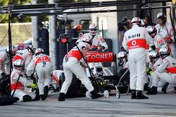 Lewis Hamilton, McLaren makes a pit stop