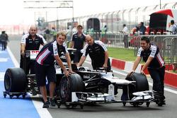 Williams FW34 returns from scrutineering