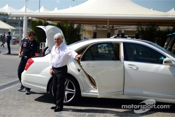 Bernie Ecclestone, CEO Formula One Group, and Christian Horner, Red Bull Racing Team Principal arrive in the paddock