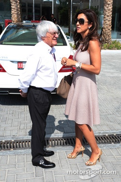 Bernie Ecclestone, CEO Formula One Group, with his wife Fabiana Flosi