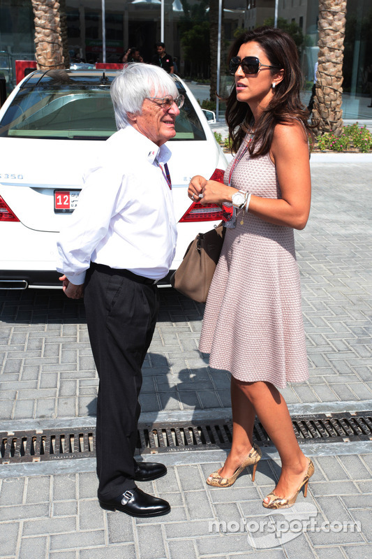 Bernie Ecclestone CEO Formula One Group With Fiance Fabiana Flosi At Abu Dhabi GP