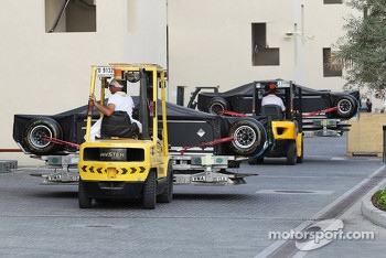 Mercedes AMG F1 freight ready for departure from the circuit