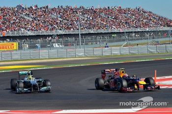 Mark Webber, Red Bull Racing and Nico Rosberg, Mercedes AMG F1