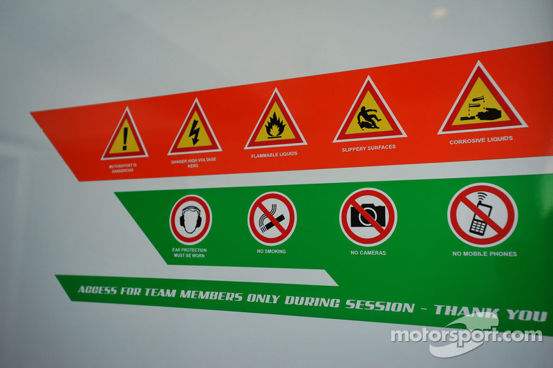 Signage in the Sahara Force India pits