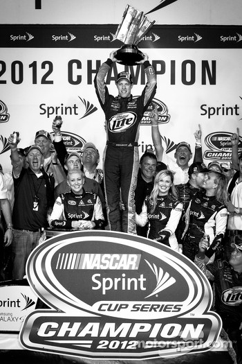 Championship victory lane: 2012 NASCAR Sprint Cup Series champion Brad Keselowski, Penske Racing Dodge celebrates