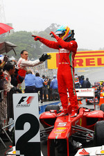 Fernando Alonso, Ferrari celebrates his second position in parc ferme