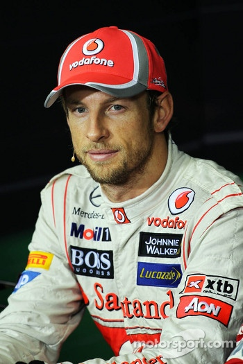 Race winner Jenson Button, McLaren in the FIA Press Conference