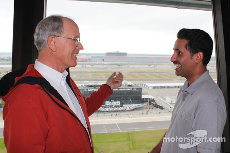 Shaikh Salman Bin Isa Al Khalifa, the chief executive of the Bahrain International Circuit, meets with GRAND-AM Road Racing Founder and NASCAR Vice Chairman and Vice President Jim FranceExecutive