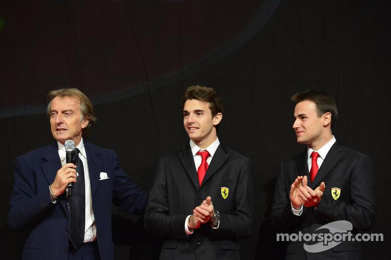 Luca di Montezemolo with Jules Bianchi, Davide Rigon at the Ferrari Gala