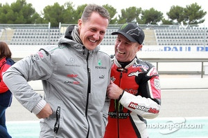 Michael Schumacher and Randy Mamola