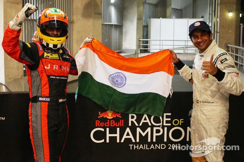 Karun Chandhok and Narain Karthikeyan celebrate their ROC Asia win for Team India