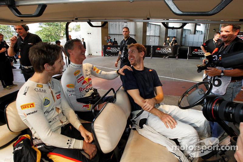Sebastian Vettel, Romain Grosjean and David Coulthard