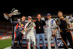 Second place Sbastien Ogier and Romain Grosjean with first place Sebastian Vettel and Michael Schumacher