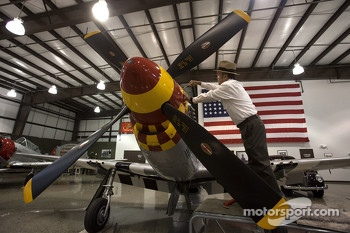 Jack Roush prepares his P-51 Mustang for a flight with new driver Travis Pastrana