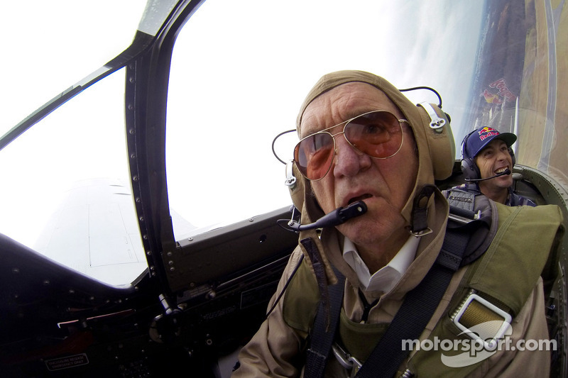 Travis Pastrana and team owner Jack Roush go for a flight in a P-51 Mustang
