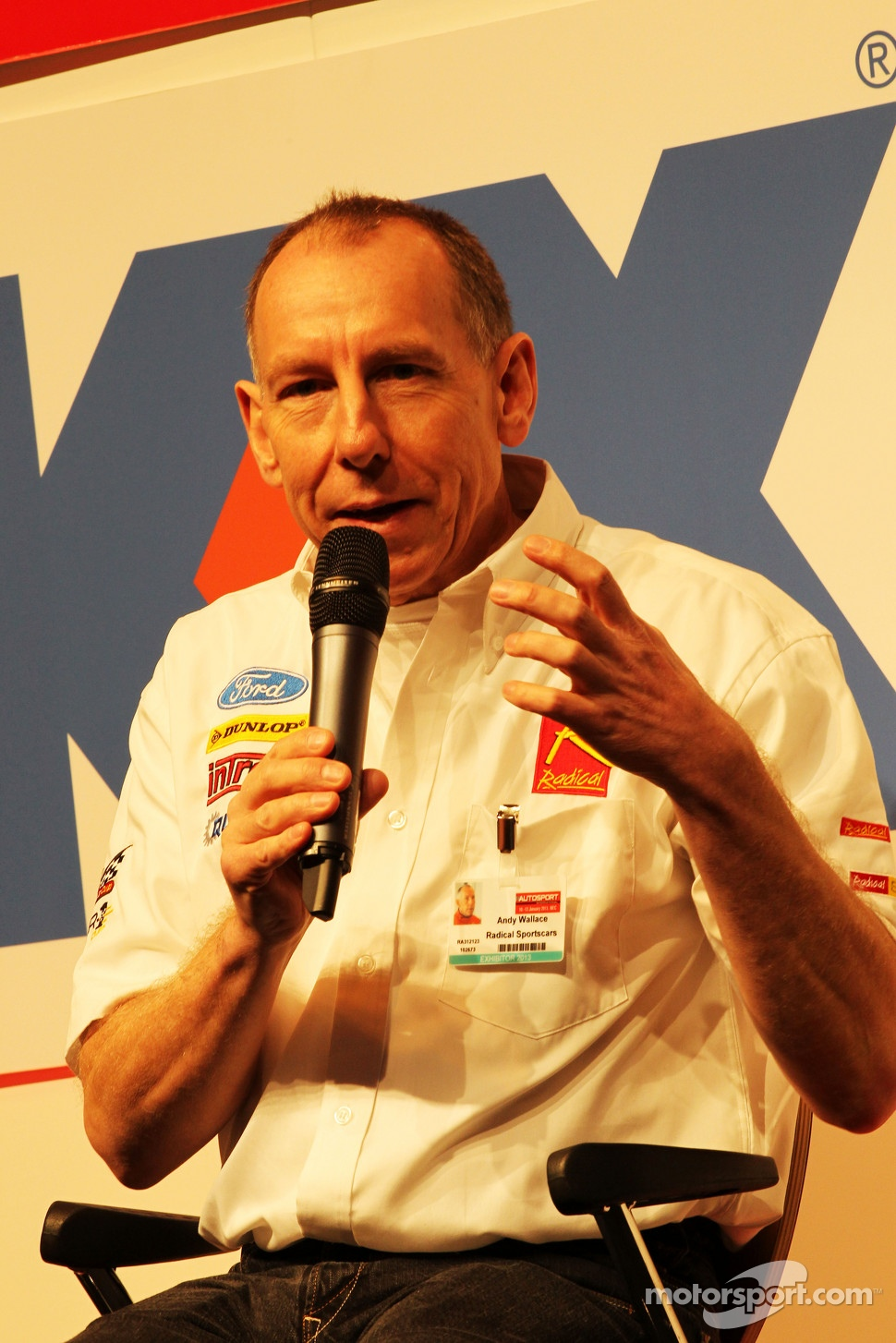 Andy Wallace, on the Autosport Stage