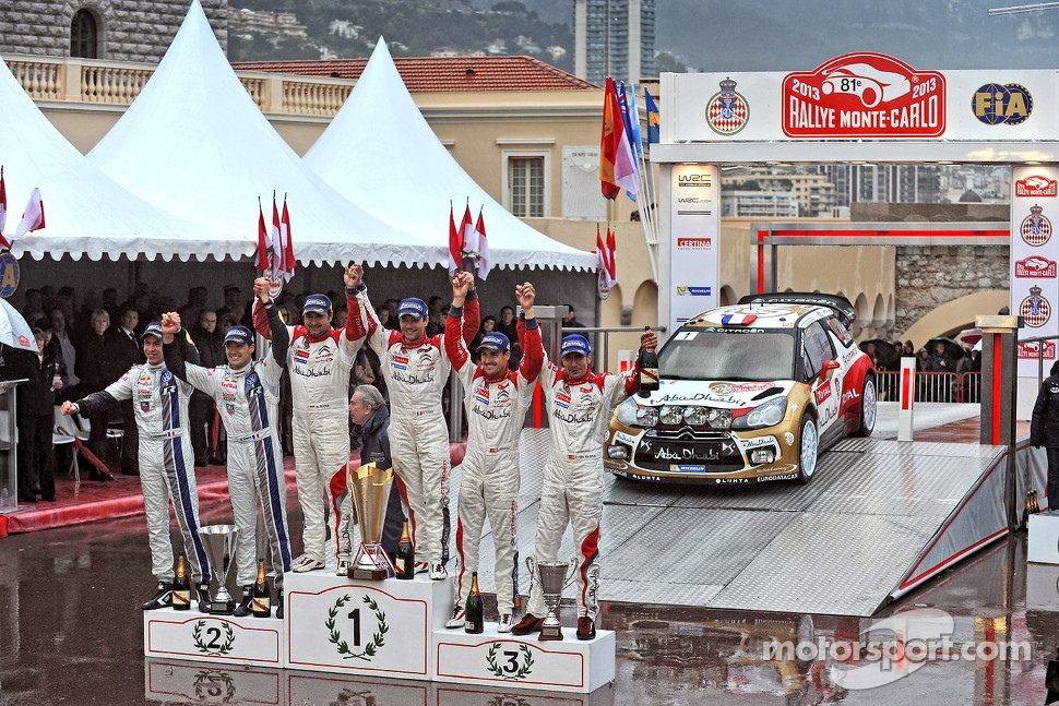 Podium: winners Sbastien Loeb and Daniel Elena, Citron Total Abu Dhabi World Rally Team, second place Sbastien Ogier and Julien Ingrassia, Volkswagen Motorsport, third place Daniel Sordo and Carlos del Barrio, Citron Total Abu Dhabi World Rally Team