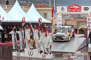 Podium: winners Sébastien Loeb and Daniel Elena, Citroën Total Abu Dhabi World Rally Team, second place Sébastien Ogier and Julien Ingrassia, Volkswagen Motorsport, third place Daniel Sordo and Carlos del Barrio, Citroën Total Abu Dhabi World Rally Team