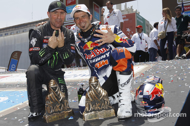 Bike winner Cyril Despres and Car winner Stéphane Peterhansel